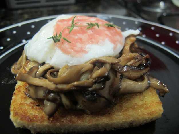 A montagem é simples: torrada, cogumelos, ovo e, neste caso, o salame.. Receita simples, eficaz e muito gourmet...